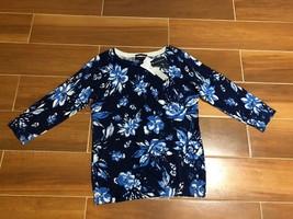 Lands End Women's Sweater Blue Flower Pattern Size XS - $19.23