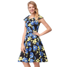 AOVEI Blue Floral Print Vintage Sailor Collar Prom Party Pleated Swing Dress - $24.99