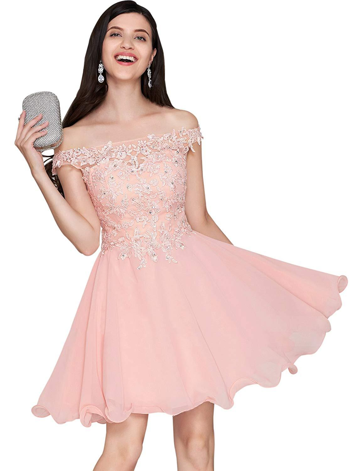 Primary image for Womens Short Chiffon Lace Applique Homecoming Dress Off Shoulder Prom Party Gown