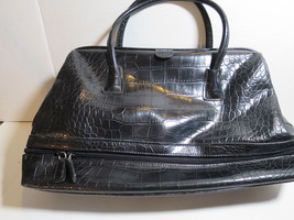 Vtg. Nine West Black Purse Handbag Satchel Croc Embossed - $23.36
