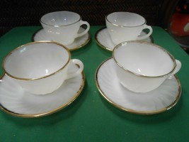 Great FIRE KING White-Gold Trim ...Set of 4 CUPS & SAUCERS - $22.36