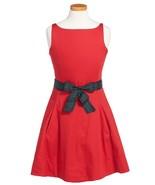Girl's Ralph Lauren Sleeveless Cotton Sateen Dress, Red, Size 4, MSRP $69,5 - $34.64
