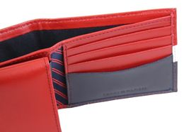 Tommy Hilfiger Men's Leather Wallet Passcase Billfold Rfid Red Navy 31TL220053 image 9