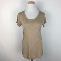 BCBG Maxazria Women's Short Sleeve Brown Scoopneck V-Neck Shirt Size Med... - $14.84