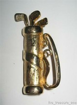 """~VINTAGE~Gold Plated Metal GOLF BAG CLUBS~2 1/2""""~Pin Brooch~EXC COND~P054 - $4.88"""