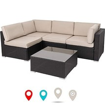 Walsunny Outdoor Black Rattan Sectional Sofa- Patio Wicker Furniture Set... - $423.83