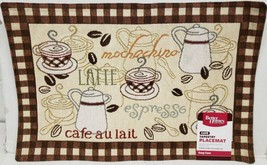 "Set of 3 Tapestry Kitchen Placemats, 13"" x 19"", w/brown back, COFFEE TYP... - $16.82"