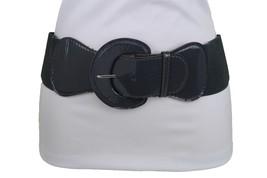Women Belt Hip Waist Elastic Fashion Charcoal Gray Faux Patent Leather M... - $11.75