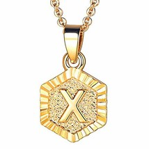 FOCALOOK X Initial Necklace Tiny Alphabet Charm 18K Gold Plated Letter M... - $10.15