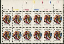 1972 Christmas Plate Block of 12 8c US Postage Stamps Catalog Number 1471 MNH