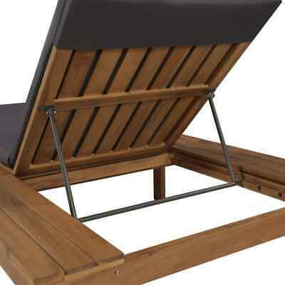 vidaXL Solid Acacia Wood Sun Lounger w/ Cushion Chaise Sunbed Seats Chair