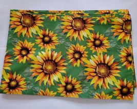 Sunflower Placemats, set of 4, Polyester Yellow Green Reversible Machine... - $13.99