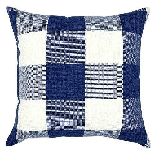 Navy Decorative Throw Pillow Case Cushion Covers Buffalo Checked Plaid 2-Pieces image 2
