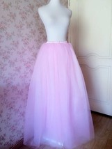 Women High Waist Pink Tulle Skirt Long Maxi Bridesmaid Maxi Skirt Princess Skirt