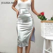 JULISSA MO Silver Sexy High Waist Split Skirts Womens Faux Leather Zipper Mid-C - $35.99