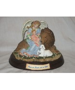 Angel Lion Lamb & Child Statue Christmas Music Box Peace in Heaven & On Earth - $26.14