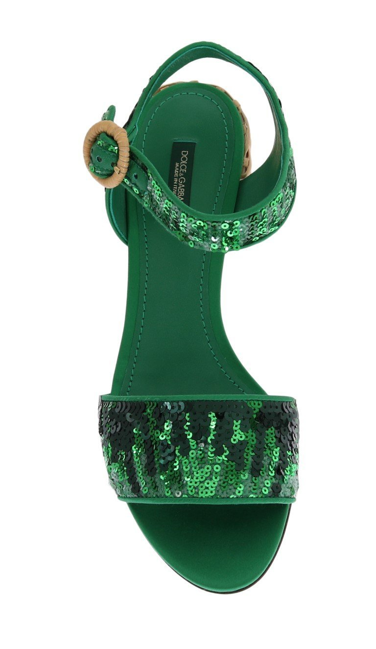 Dolce & Gabbana Green Sequined Sandal Shoes