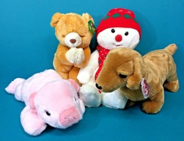 Ty Beanie Buddy 4 Plush Stuffed Animal Lot Hope Snowboy Pig Weenie Dog NWT Tag - $23.95
