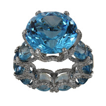 Unique Blue Topaz Ring in 14k White Gold  - $1,950.00