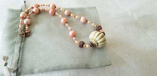 Victorian Pearl and Copper Beaded Necklace / Handmade Jewelry / Boho Chic Style