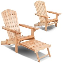 Sturdy Wood Chair With Footrest Stool Foldable Patio Garden Outdoor Loun... - $95.99