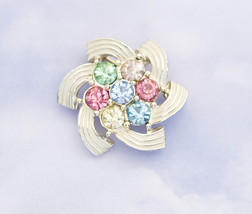 Vintage Geometric Multi-color Stone Brooch By Sarah Coventry H1 - $21.99