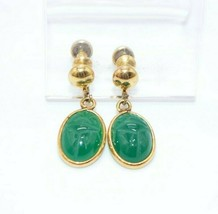 12k GF Carved Stone Scarab Beetle Egyptian Revival Dangle Earrings Uncas - $49.49