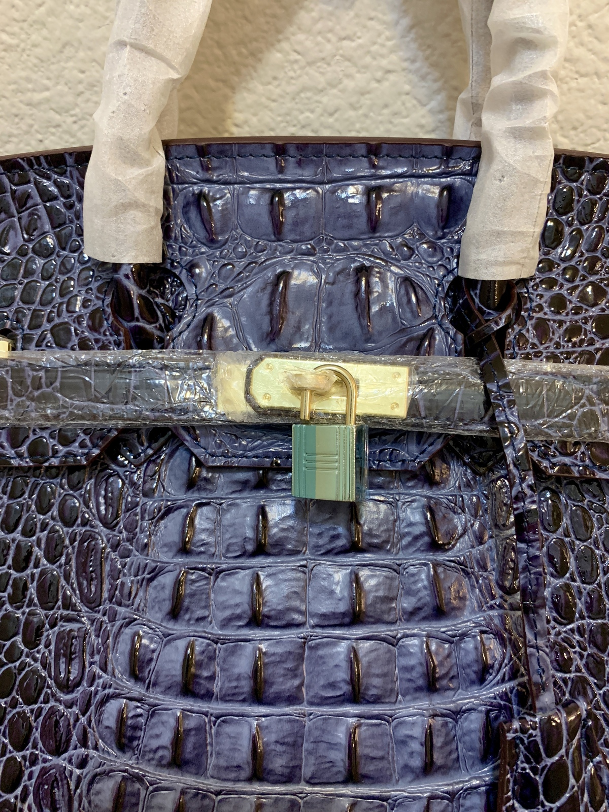 35cm Navy Blue Crocodile Embossed Italian Leather Birkin Type Satchel Handbag