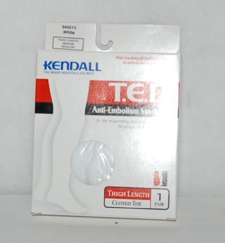 Kendall 944213 TED Anti Embolism Stockings White Thigh Length Medium Regular Box