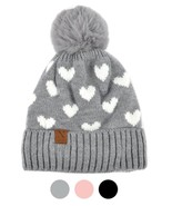 Women's Hearts and Pom Pom Knit Winter Hat - $16.99