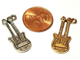 DOUBLE NECK ELECTRIC GUITAR FINE PEWTER PENDANT CHARM - 12mm L x 28mm W x 4mm D image 3