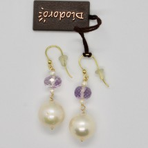 Yellow Gold Earrings 18k 750 Freshwater Pearls and Amethyst Pink Made in Italy image 2