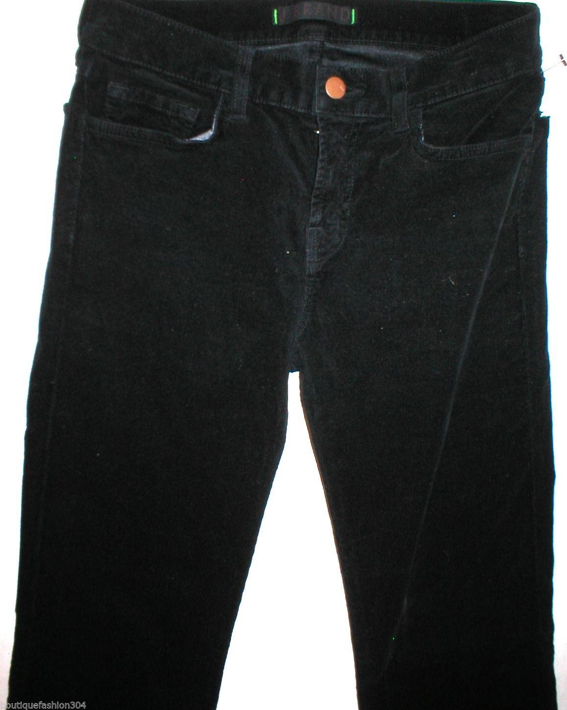 New $248 J Brand Jeans Womens Black Mid Straight Leg Velvet 805 Tall 28 Corduroy image 2