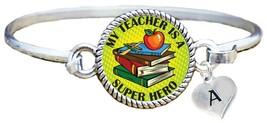 My Teacher is a Super Hero Comic Look Silver Cuff Bracelet Jewelry Add Initial - $14.24