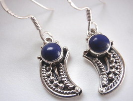 Lapis Lazuli Tribal Style 925 Silver Dangle Earrings - $18.12