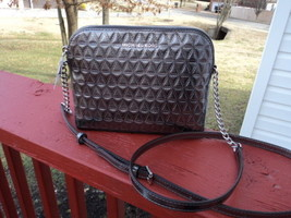 Authentic Michael Kors Large Dome Crossbody Gunmetal  Silver Leather NWT - $113.84