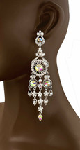 "5"" Long Oversized Chandelier Earrings AB Rhinestones Drag Queen Bridal Pageant - $20.90"
