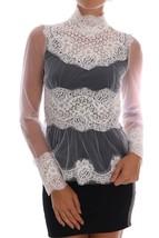 Dolce & Gabbana White Floral Lace Mock Neck Blouse - $860.00