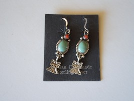 Sterling Silver Dangle Earrings with Turquoise & Coral by M Calladitto - $24.31