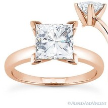 Square Cut Forever ONE D-E-F Moissanite 14k Rose Gold Solitaire Engagement Ring - $516.00+