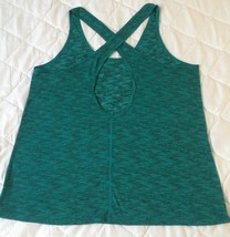 Express Womens Top Size Large Green Criss Cross Back Front Work Out Gym ... - $19.93