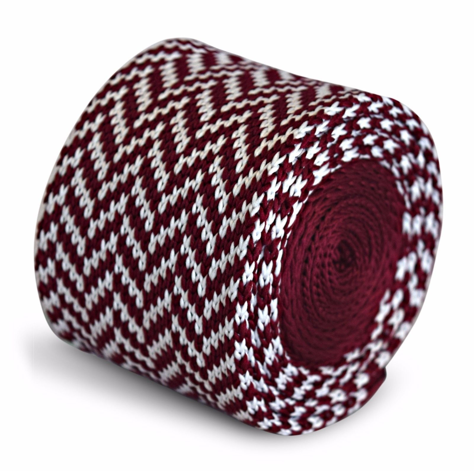 Frederick Thomas Knitted Skinny Maroon and White Herringbone Tie FT3295