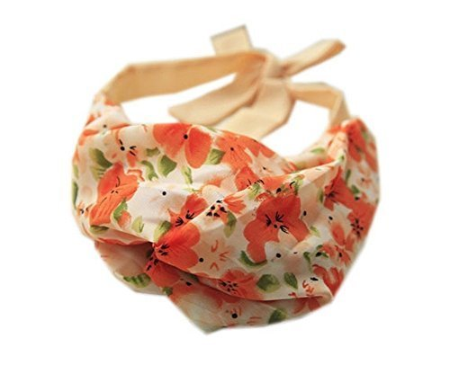Fashion Orange Strap Headband Lace Up Floral Print Hair Band