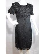 women's vintage dress beaded evening wear black short sleeve size M - $30.00