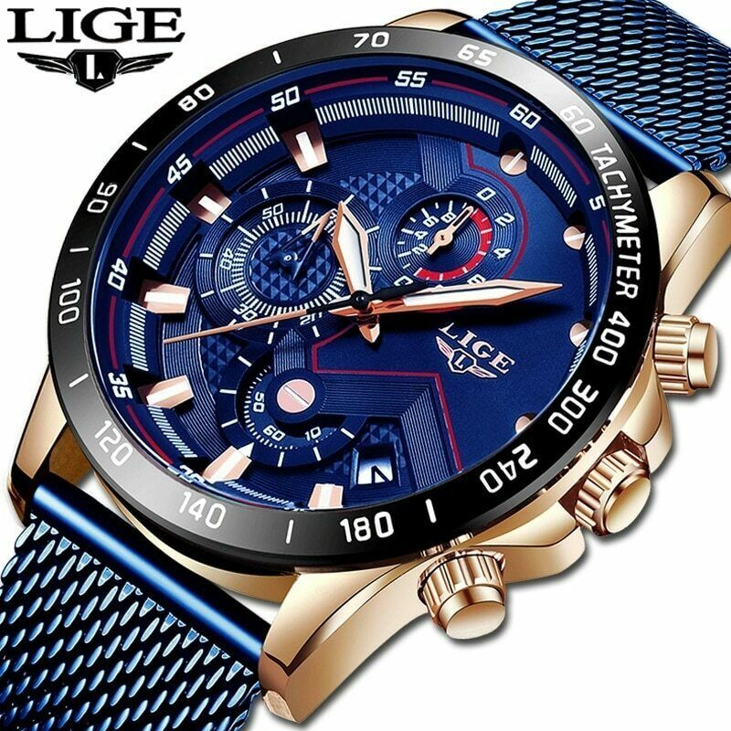 LIGE 2019 Mens Watches Top Brand Luxury Waterproof Fashion Watch Quartz Watch
