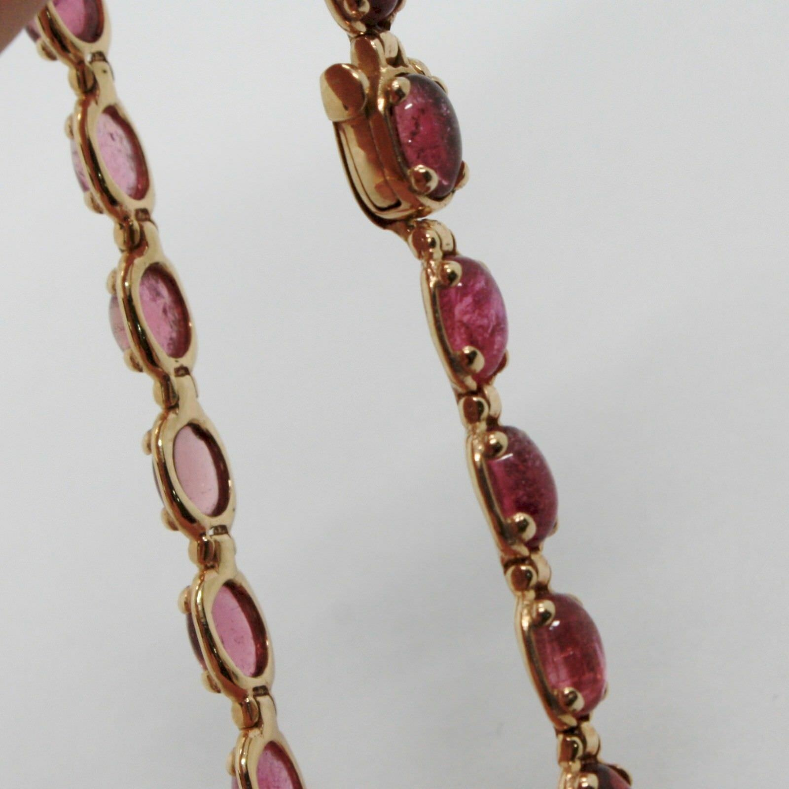 Bracelet Gold Pink 9k Type Tennis with Tourmaline Pink, Made in Italy image 4