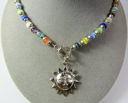 """VTG Sterling Silver Cats Eye Toggle Clasp Sun Pendant 16"""" Necklace 37.9 ... - €67,00 EUR"""