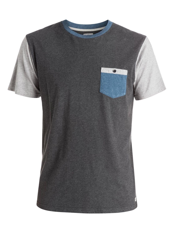 Medium Quiksilver Men's Pocket Tee Shirt Surfing Beach Casual Basic Charcoal