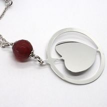 Silver 925 Necklace, Carnelian Faceted, Heart Sloped Pendant image 3