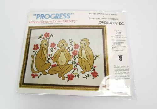 Primary image for Progress Crewel Stitchery Kit Monkey Do See No Evil Sewing Vintage